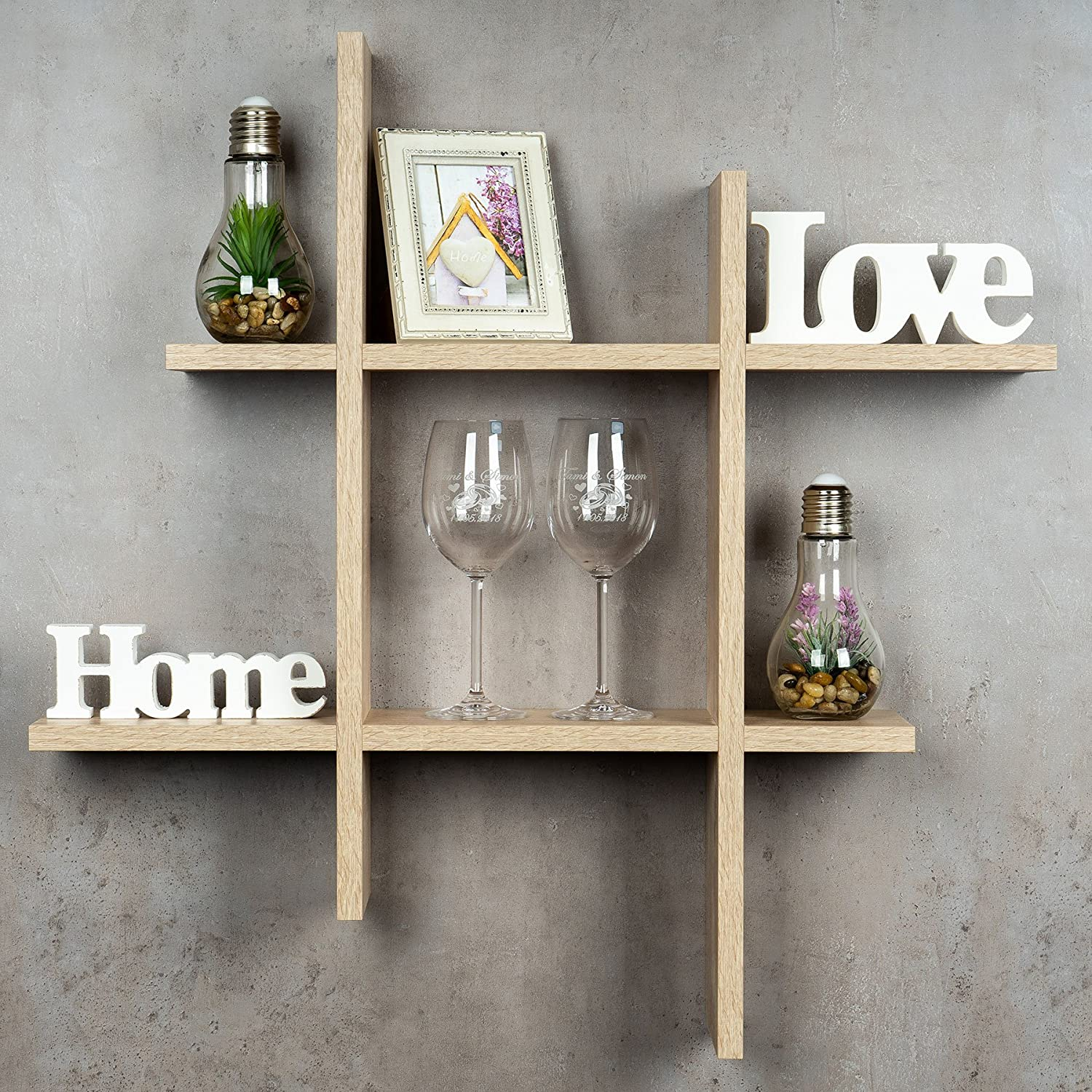 Levandeo Hashtag Regal 75x75cm Wandregal Holz Sonoma Eiche Optik