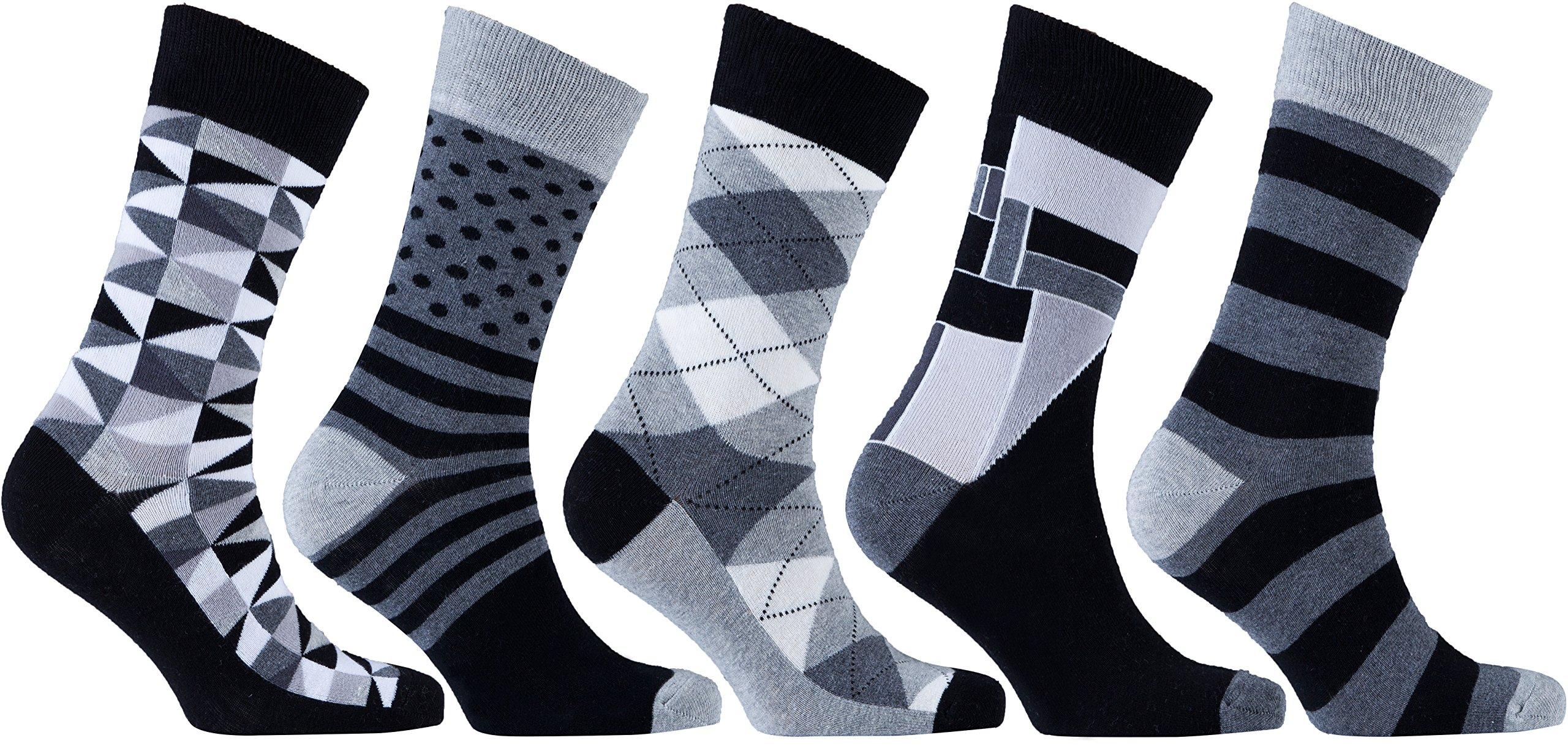 Socks n Socks-Men's 5-pair Luxury Fun Cool Cotton Colorful Mix Socks Gift Box
