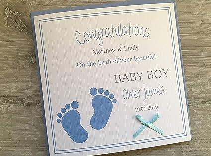Congratulations New Born Baby Boy Handmade Card Personalised Boys World Son