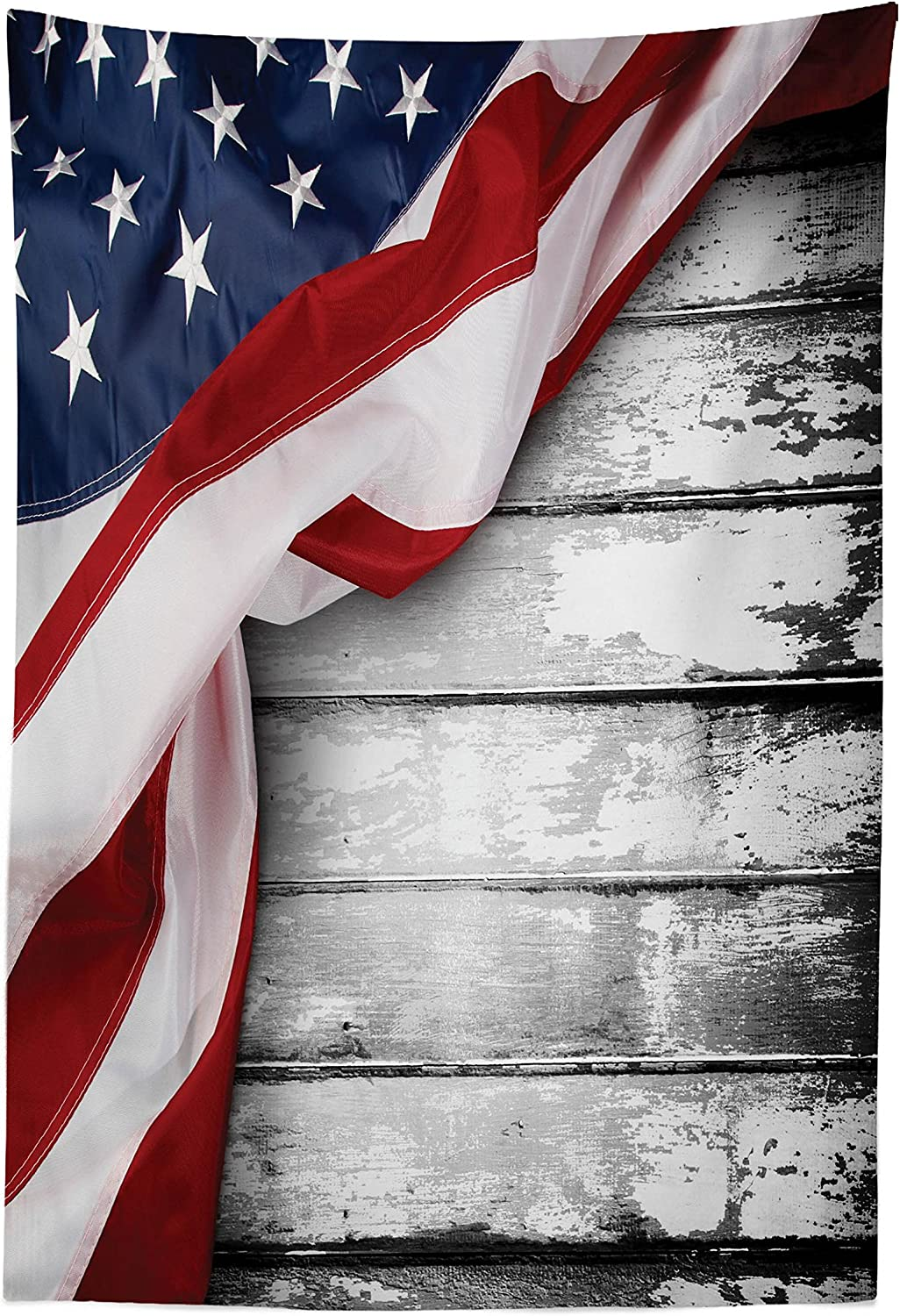 """Lunarable American Flag Tapestry, Flag Rippling Over Horizontal Lines Wooden Federal Government Artwork Print, Fabric Wall Hanging Decor for Bedroom Living Room Dorm, 30"""" X 45"""", Blue Red"""
