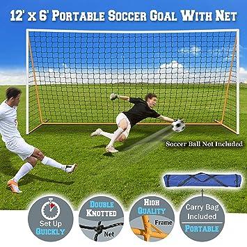 Amazon.com: Portátil de 12 x 6 Fútbol y red de portería de ...