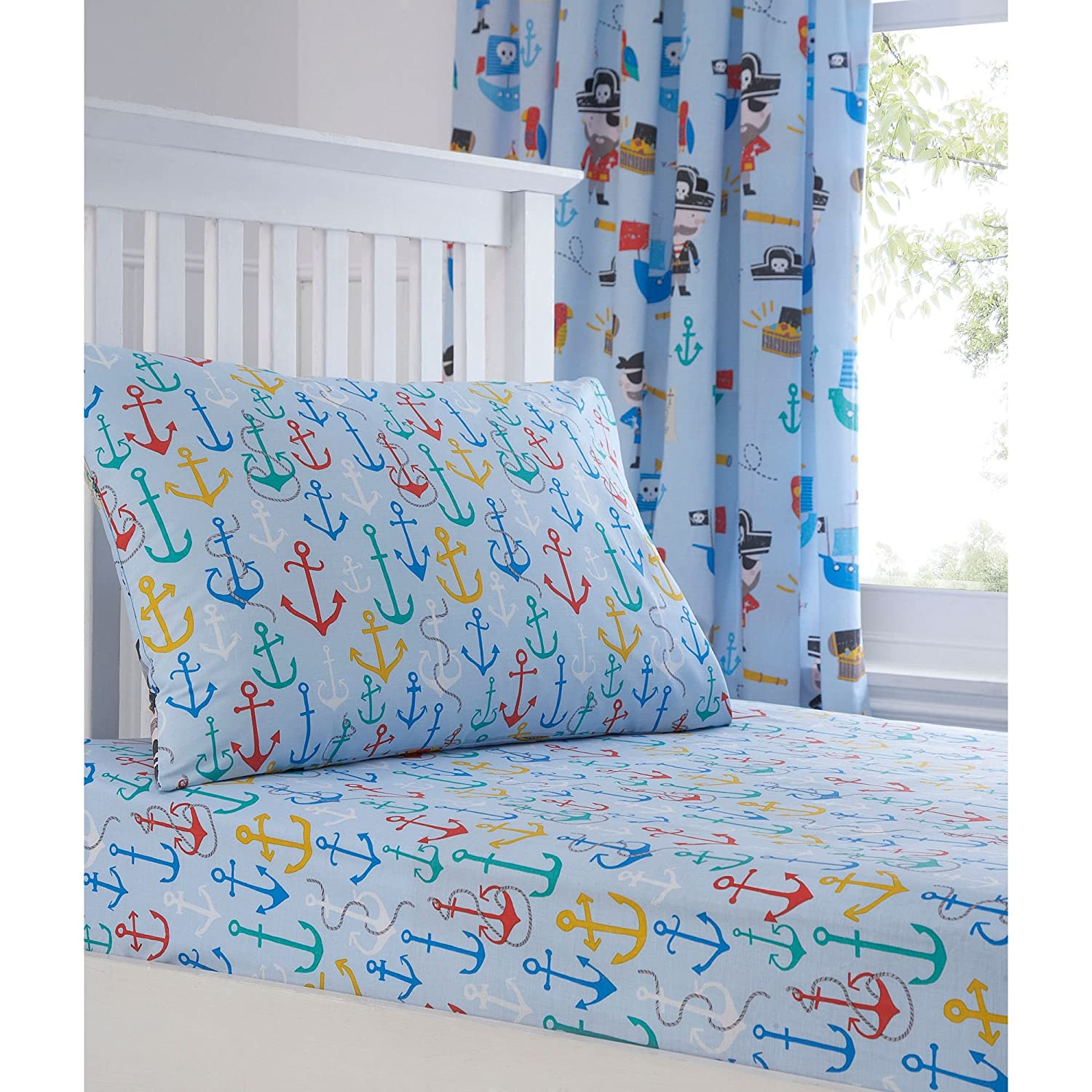 bluezoo Kids' Blue Pirates Print Fitted Sheet And Pillow Case Set Single