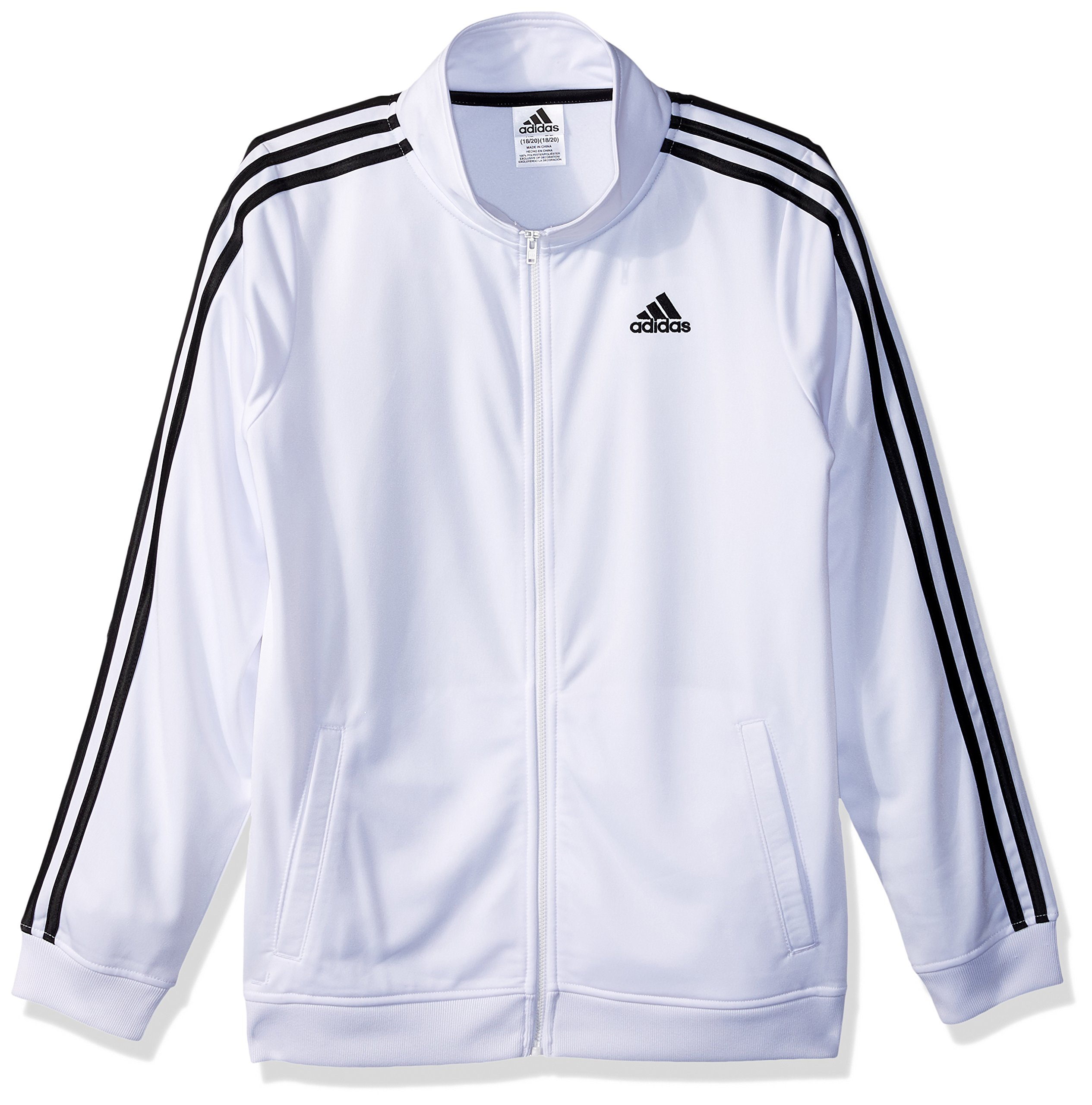 adidas Big Boys' Iconic Tricot Jacket, White, Medium by adidas