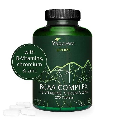 BCAA Vegano Vegavero SPORT® 5000 mg | EL ÚNICO SIN ADITIVOS | 270 Comprimidos | Con Vitaminas B + Cromo + Zinc | Suplemento Aminoácidos Ramificados + ...