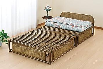 Amazon|《ラタン(籐)》 ベッド 折りたたみ式 ダークブラウン色