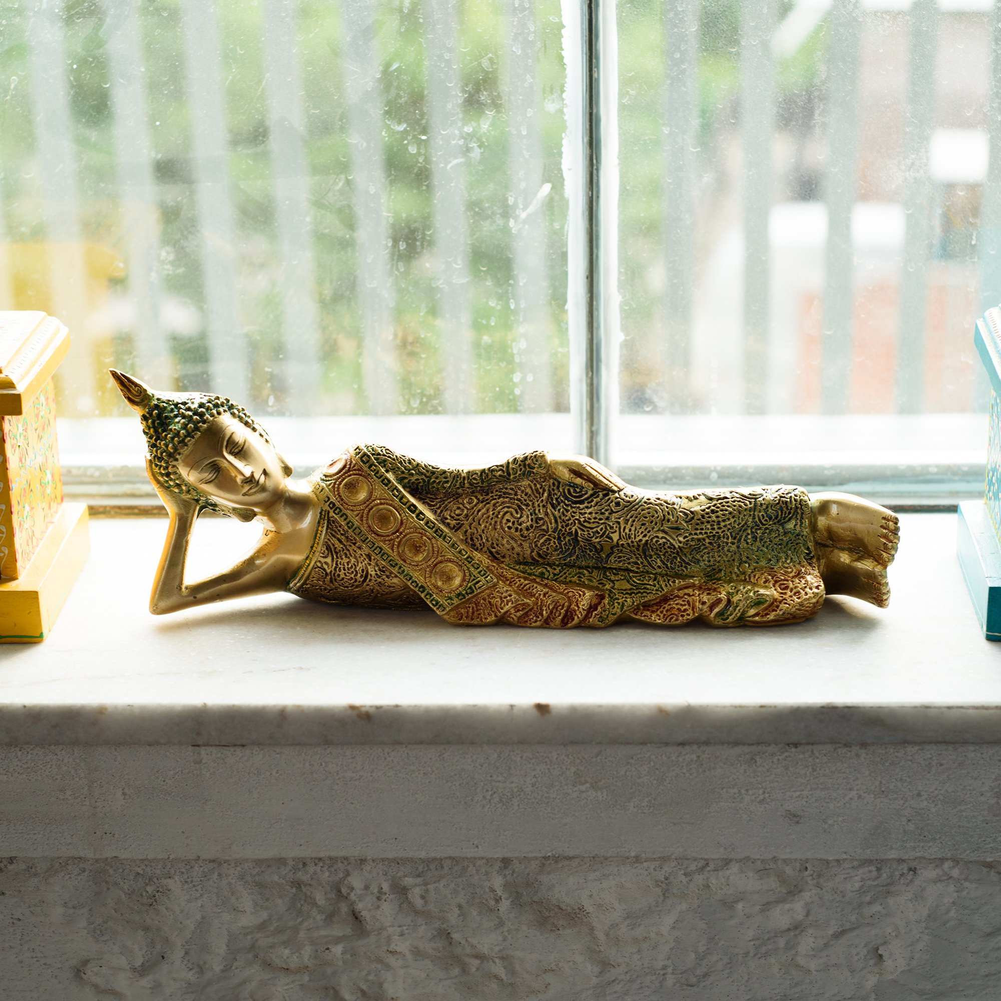 eCraftIndia Brass Decorative Thai Reclining Buddha Antique Showpiece by eCraftIndia