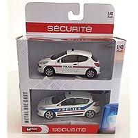 Générique Renault Megane + Peugeot 207 Police : Coffret de 2 Voitures échelle 1:43