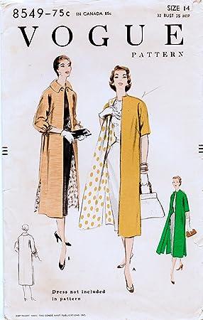 Vogue 8549 Misses Vintage 1955 línea recta perchero patrón ...