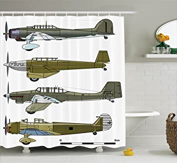 Ambesonne Airplane Shower Curtain Thirties Style Dive In Camouflage Colors Historical Airshow Planes Design