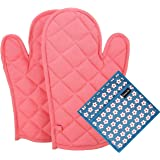 Dm Cool Cotton Oven Glove & Pot Holder Set (2 Oven Glove + 1 Pot Holder Free) (Heat Proof) (33 X 16 Cm),(Assorted Colors And Designs) (100% Quality & Lowest Price)