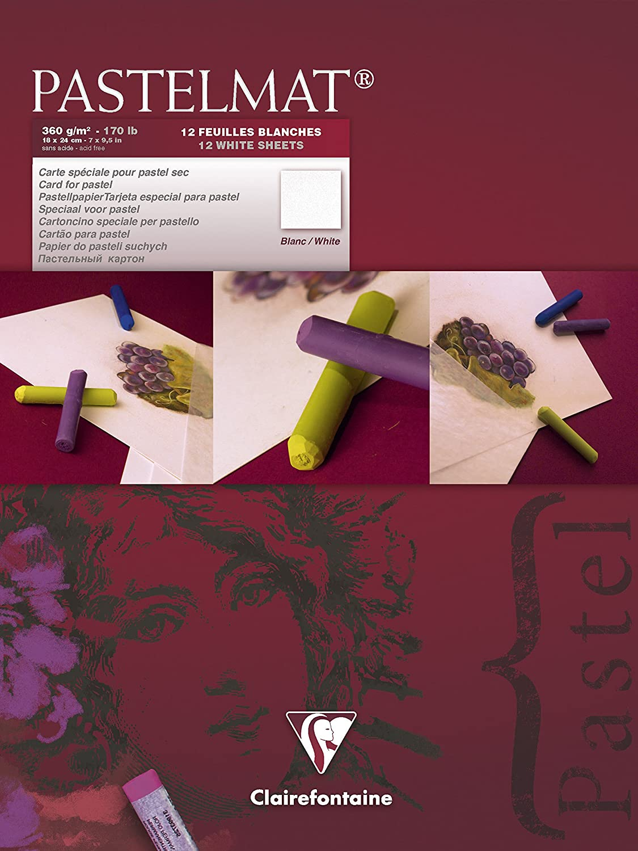 Clairefontaine 96018C Zeichenblock Pastelmat (12 Blatt, 30 x 40 cm, 360 g, mit 4 transparenten Trennblättern, Spezielkarton ideal fur Pastell und Kreide) hellgelb, gelb, dunkelgrau und hellgrau