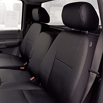 FH CM217 2007   2013 Chevrolet Silverado Leather Black Custom Seat Covers  Front Set Airbag