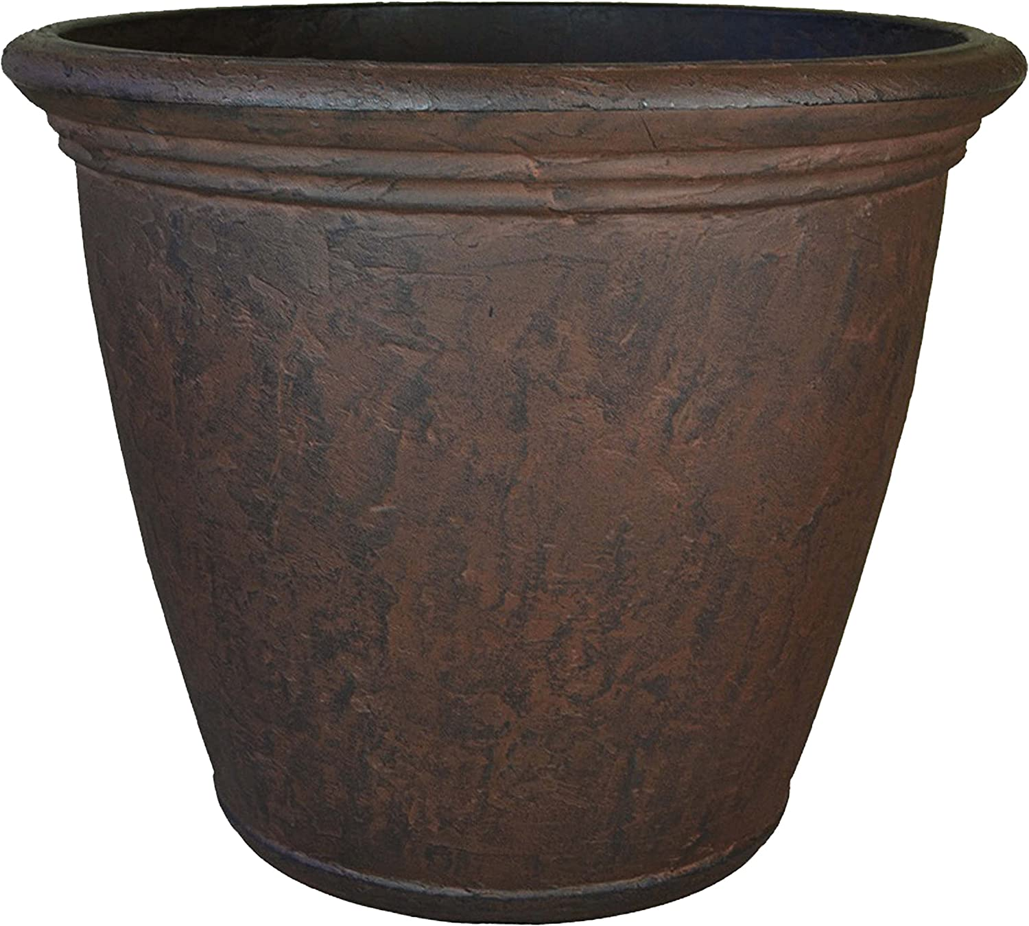 Sunnydaze Anjelica Flower Pot Planter, Outdoor/Indoor Unbreakable Double-Walled Polyresin with UV-Resistant Rust Finish, Single, Large 24-Inch Diameter