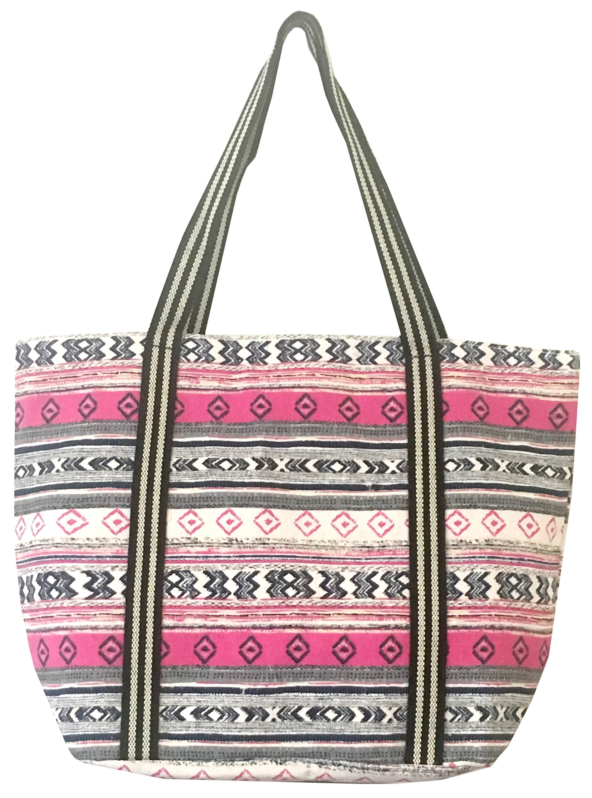 Large Utility Canvas and Nylon Travel Tote Bag For Women and Girls 15030 (B.PINK)