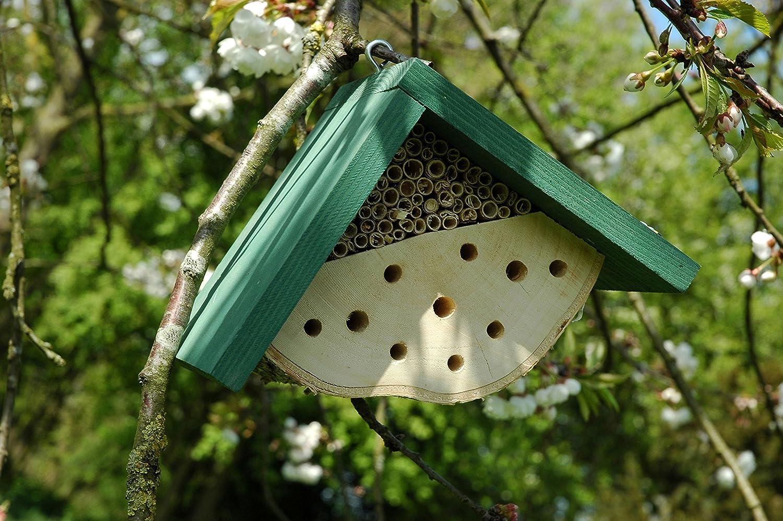 Luxus-Insektenhotels 22614e Insektenhotel f/ür Wildbienen zum Aufh/ängen Insektenhaus mit gr/ünem Dach
