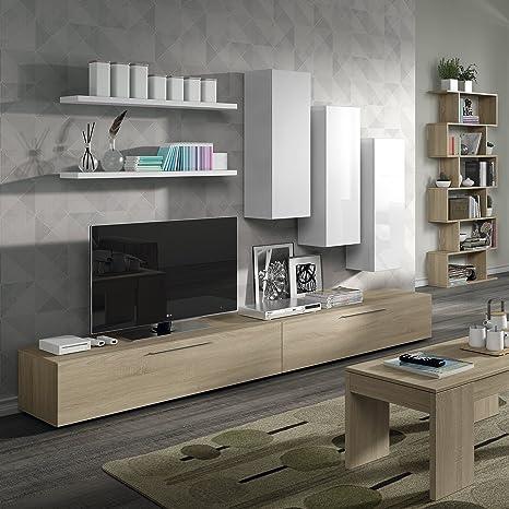 Set design soggiorno bicolore bianco rovere: Amazon.it: Casa e cucina