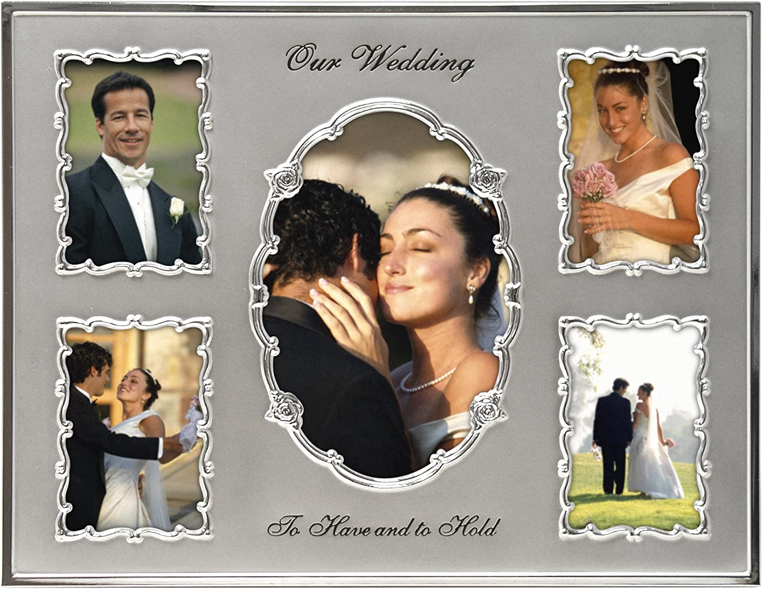 Amazon Com Malden International Designs Our Wedding Two Tone Collage Picture Frame 5 Option 1 4x6 4 3 5x5 Silver Wedding Gift