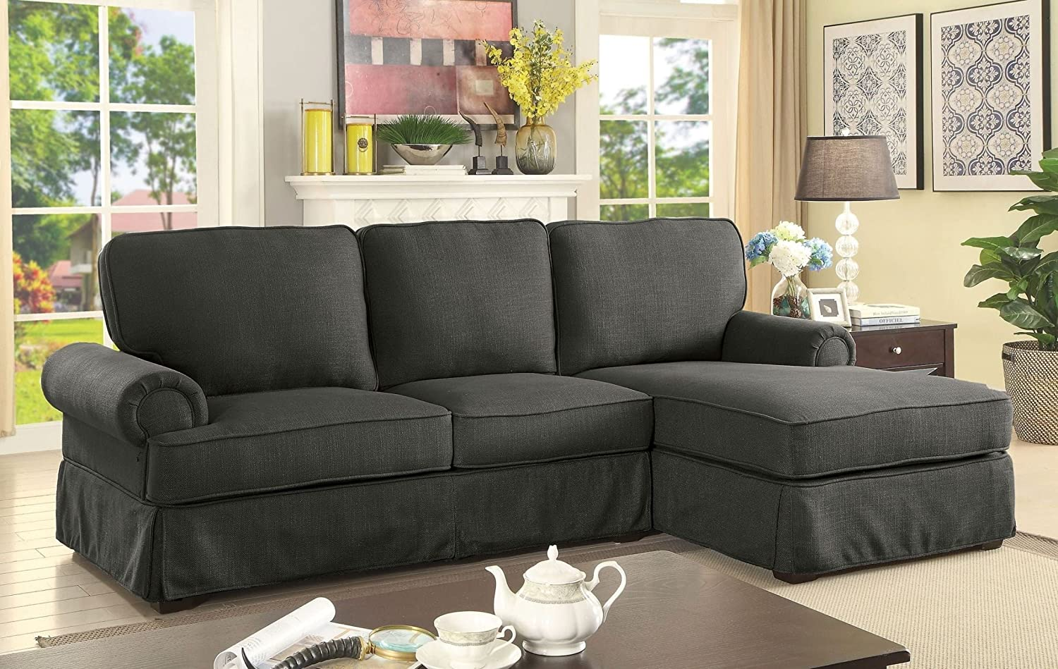 Gray Linen Living Room Furniture