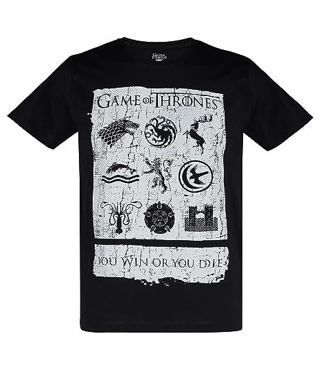 Juego de tronos Hombres Camiseta Manga Corta - Negro - S: Amazon ...