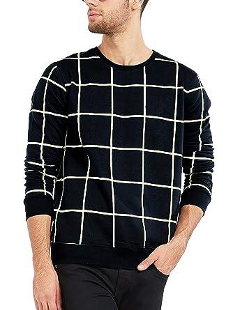 49feb4263 Maniac Men's Cotton T-Shirt (Mens-Ss18-Rn-Fs-Checked-Tshirt): Amazon ...