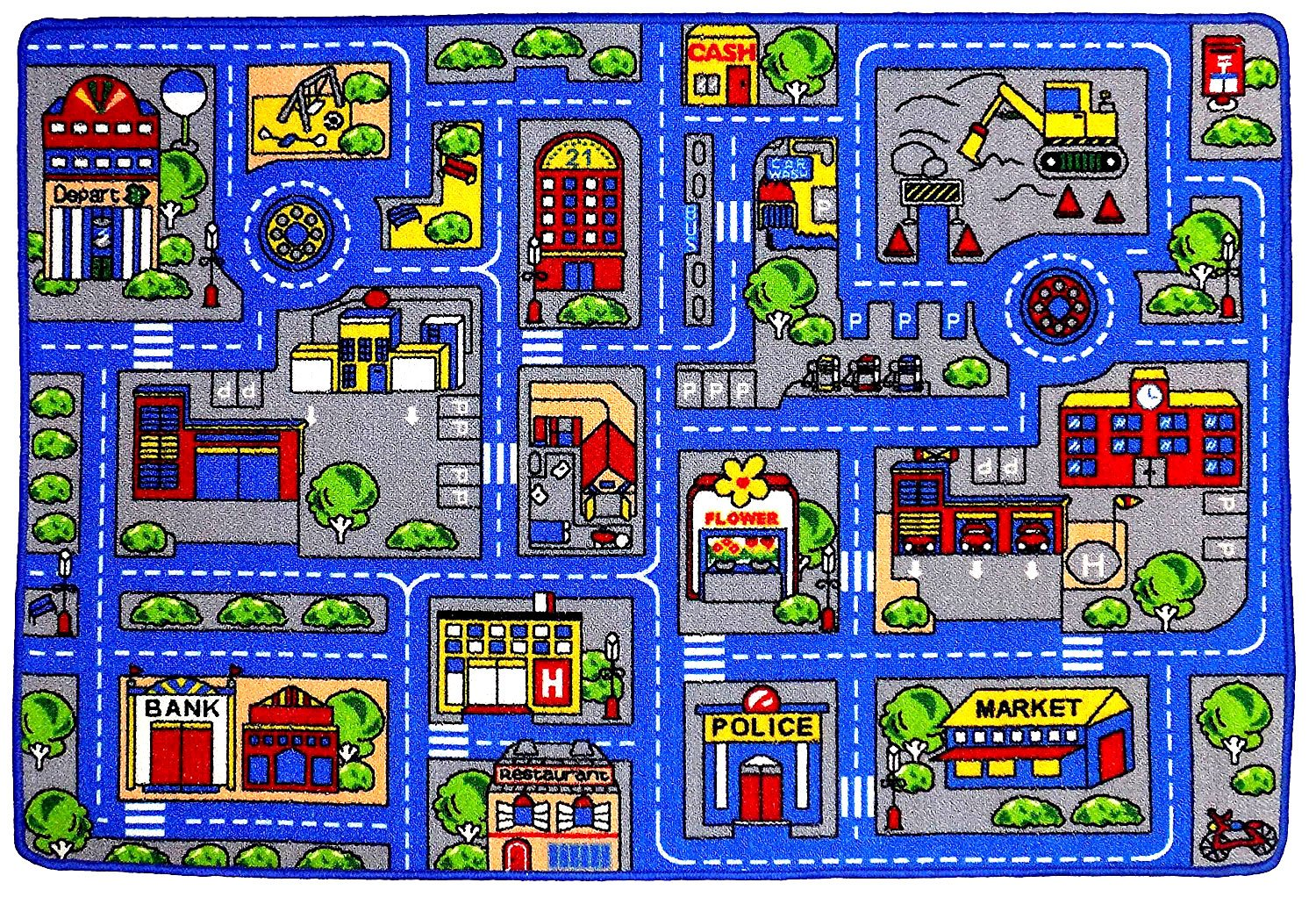 Kids Rug Town Map 8' X 11' Childrens Area - Street Map Non Skid Backing ( 7'10'' X 11'3'')