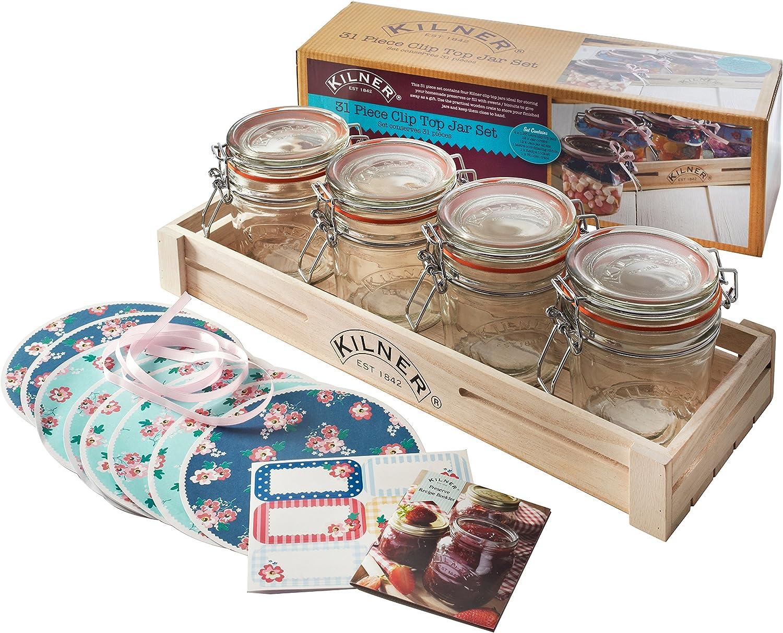 Kilner 31 Pezzi Clip Top Per Preservare Jar Set Barattoli Etichette Cover Nastro