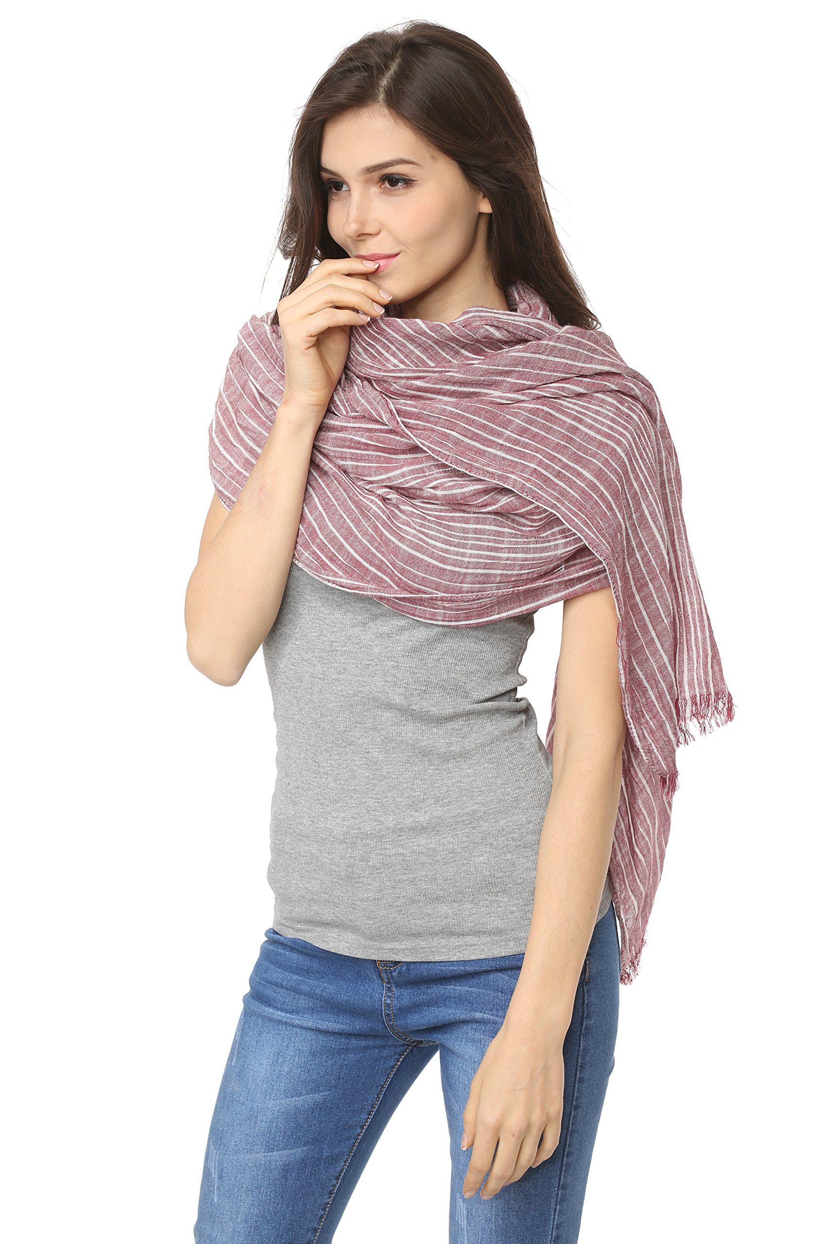 WS Natural Lightweight Scarves: Fashion Shawl Wrap Scarf For Men And Women. Cotton Blend Super Soft Striped(Wine red)