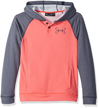 Under Armour Chicos Shoreline Terry Sudadera con Capucha, Niños, Neon Coral/Stealth