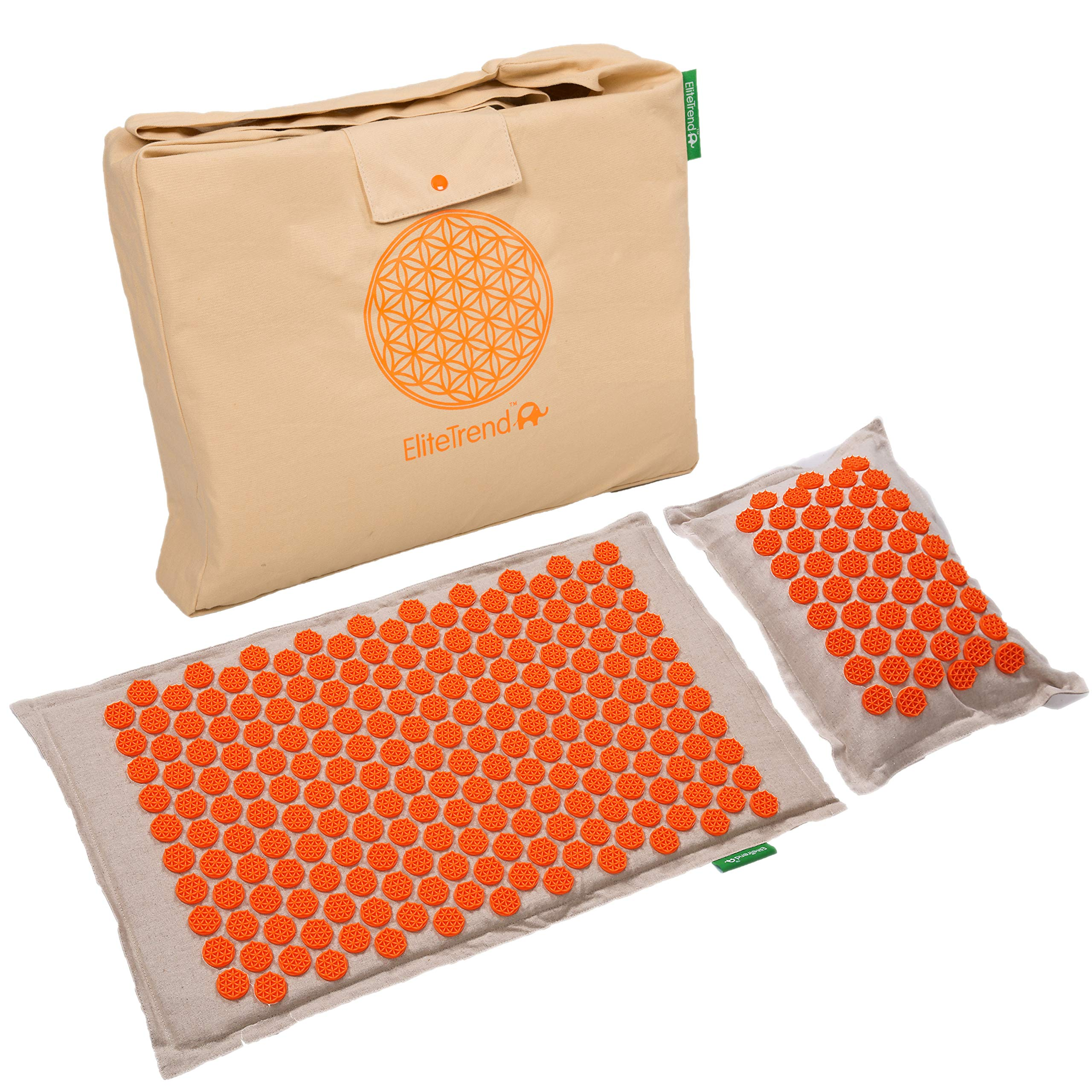 Back Massager Mat Pillow Set: Back and Neck Pain Acupressure Mats, Reflexology, Eco Natural Organic, 3 New Items Limited Time Price (Reg. $80) Help Sciatica, Triggers Point Acupuncture (Orange Spike)