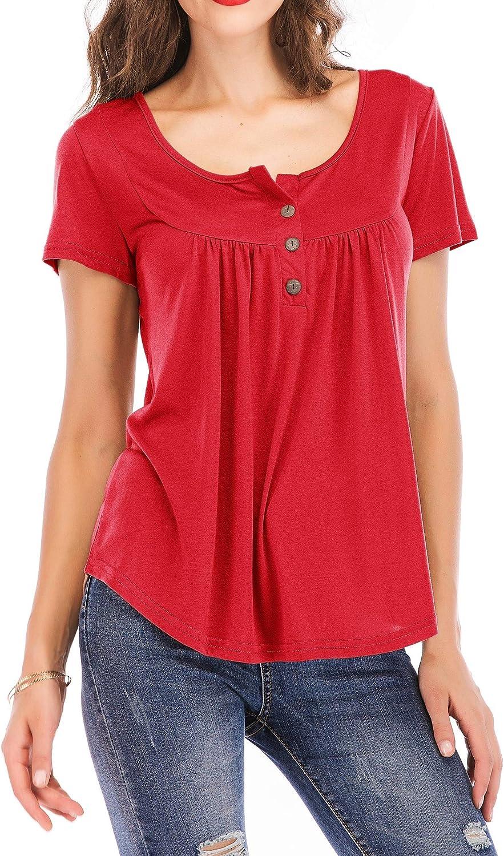 Gmardar Camiseta Mujer, Túnica de Escote Grande y Botones Mangas Cortas o Largas Elástica Cómoda Transpirable Elegante, Blusa Casual Básica para ...