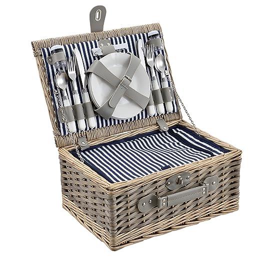 casa.pro] Cesta de pícnic para 4 Personas - Set de pícnic con ...