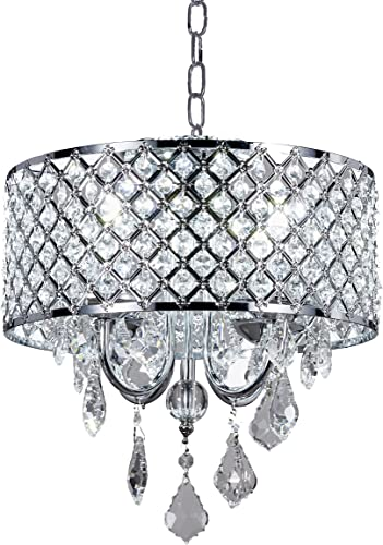 New Legend 4-Light Chrome Round Metal Shade Crystal Chandelier Pendant Hanging Ceiling Fixture