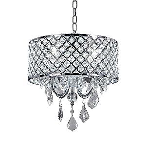 Diamond Life 4-Light Chrome Round Metal Shade Crystal Chandelier Pendant Hanging Ceiling Fixture