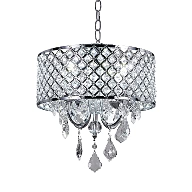 Diamond Life 4 Light Chrome Round Metal Shade Crystal Chandelier Pendant Hanging Ceiling Fixture by Diamond Life
