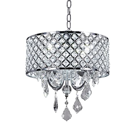 New Galaxy 4-Light Chrome Round Metal Shade Crystal Chandelier ...