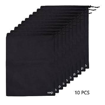 Amazon.com: Cosmos ® 10 pcs Non-Woven Black Color Shoe Bag with ...