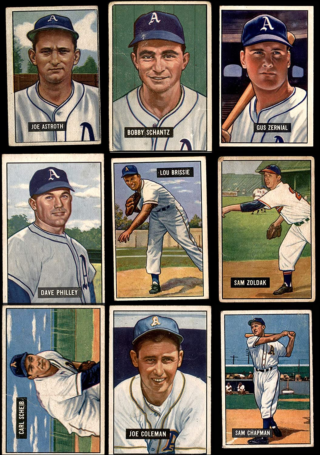 1951 Bowman Philadelphia Athletics (A'S) Team Satz Philadelphia Athletics (Baseball Set) Dean'S Cards 2 - gut Athletics