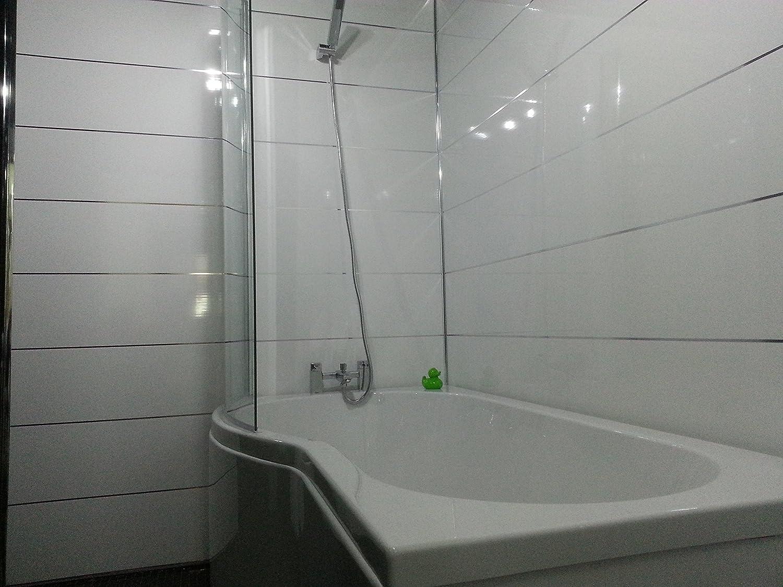 4 white gloss metallic strip pvc bathroom cladding shower wall panels amazoncouk kitchen u0026 home