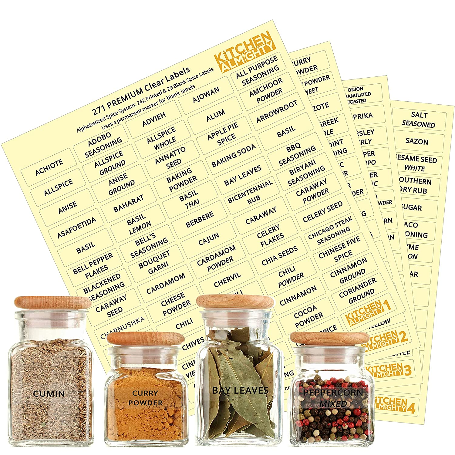 Kitchen almighty 271 spice labels 242 spice herb names 29 blank labels thicker labels backing paper alphabetized spice label system clear round