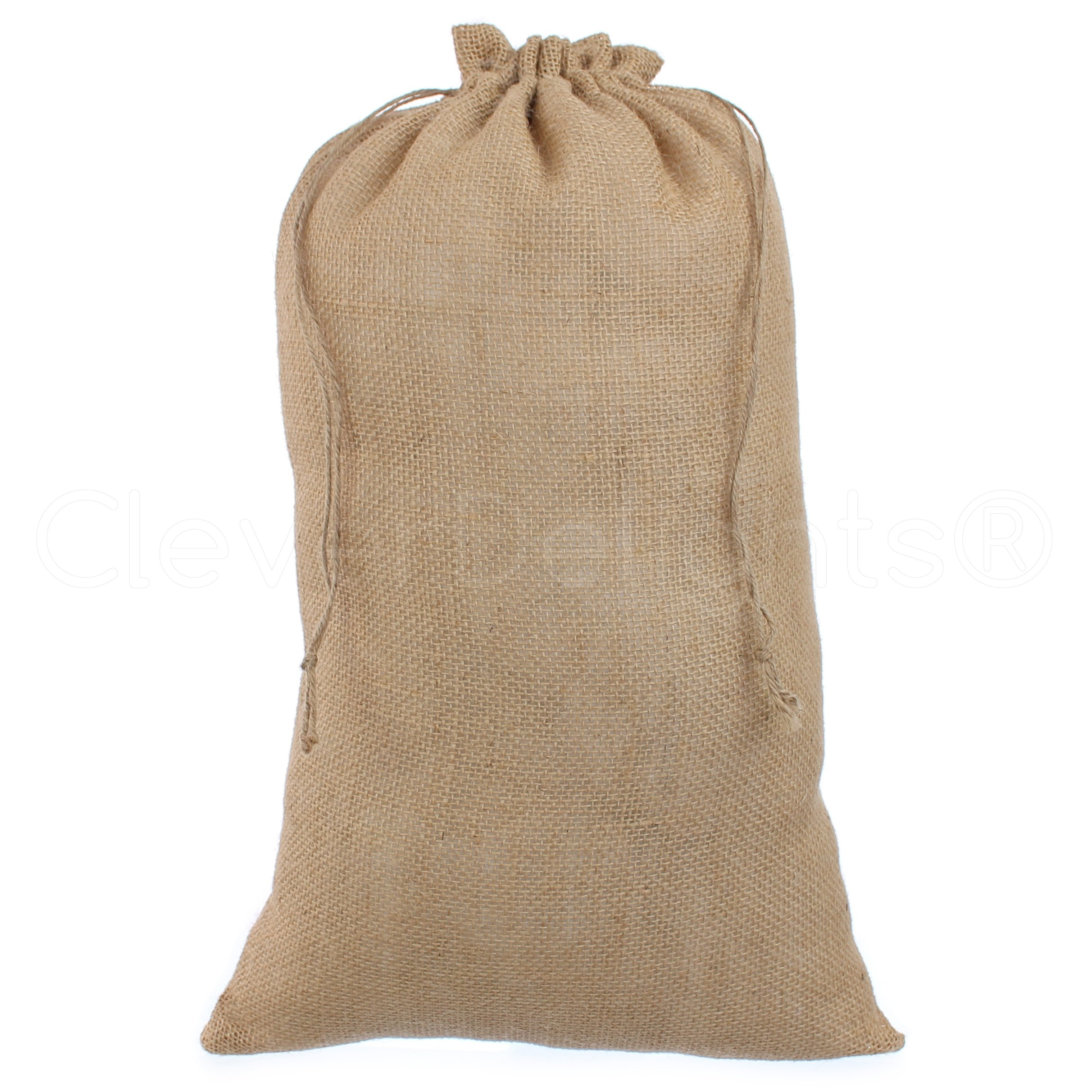 CleverDelights 12'' x 20'' Burlap Bags with Natural Jute Drawstring - 6 Pack - Large Burlap Pouch Sack Bag - 12x20 inch