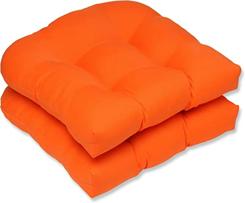 Pillow Perfect Outdoor Indoor Sundeck Tufted Seat Cushions Round Back , 19 x 19 , Orange, 2 Pack