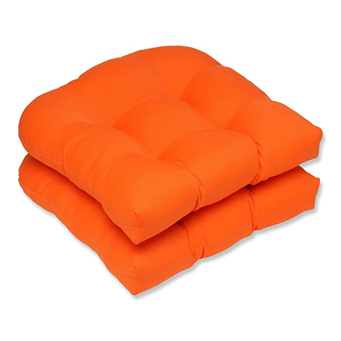 Pillow Perfect Outdoor Sundeck Wicker Seat Cushion, Orange, Set of 2