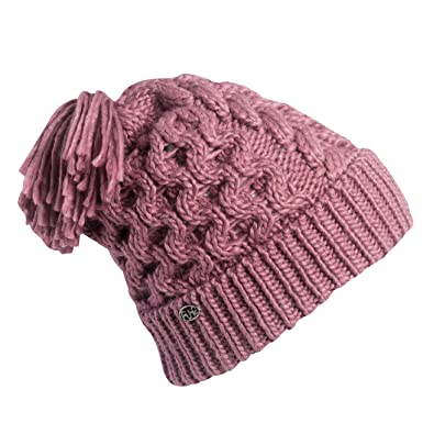 919ffbbe68c Amazon.com  Turtle Fur Jovie Womens Fleece Lined Hand Knit Tassel Pom  Winter Hat Tea Rose  Clothing