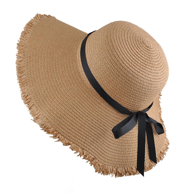 EINSKEY Ladies Sun Hat Panama Straw Hat Packable Wide Brim Summer Beach Hat Fedora Trilby Hat for Women UPF 50