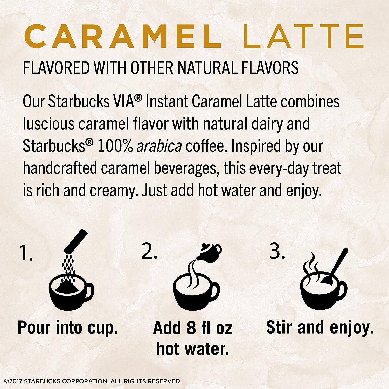 Amazon.com : Starbucks VIA Instant Caramel Latte (1 box of 5 packets ...