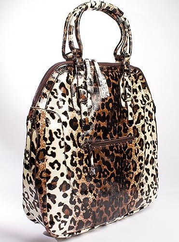 c9e73b17f297 Amazon.com  Christian Audigier Antonalla Glossy Leopard Print Dual Handle  Tote Shoulder Bag  Shoes