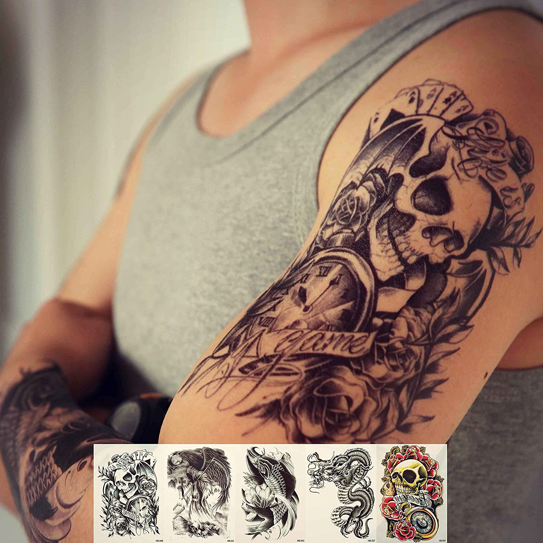 Amazon.com : Zzurcca Large Realistic Temporary Tattoos Cover Set 5 ...