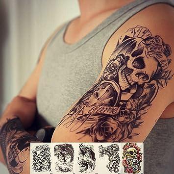 303aca601 Amazon.com : Zzurcca Large Realistic Temporary Tattoos Cover Set 5 Pcs  Stickers For Men Black Fake Tattoo Kit For Women (Dragon, Skull, Koi Fish,  ...