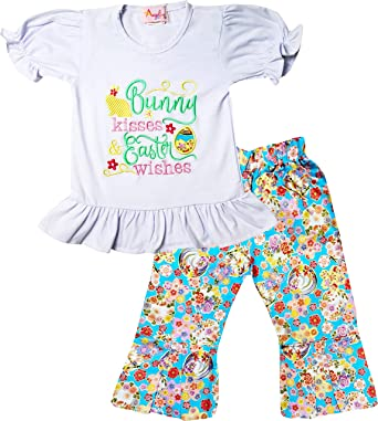 c84907bda Boutique Toddler Girls Spring Blossom Bunny Kisses Easter Wishes Ruffles  Top Pants Set Flower Blossom 2T