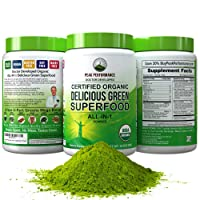 Peak Performance Organic Greens Superfood Powder. Best Tasting Organic Green Juice...